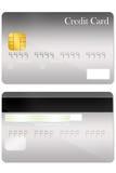 Vordere und hintere Kreditkarteschablone Stockbild