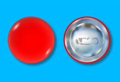 Vordere und Rückseite des roten Stiftknopfes Stockfotografie