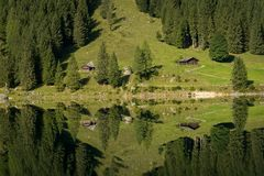 Vorderer Gosausee in Austria in summer, reflection in water Stock Images