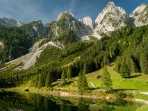 Vorderer Gosausee in Austria in summer, reflection in water. Vorderer Gosausee in Salzkammergut Austria in summer, reflection in water Stock Photos