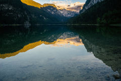 Vorderer Gosausee lake and Dachstein, Austria. Vorderer Gosausee lake and Dachstein range before sunset view. Salzkammergut, Austria Royalty Free Stock Images