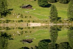 Vorderer Gosausee in Austria in summer, reflection in water Royalty Free Stock Image