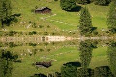 Vorderer Gosausee in Austria in summer, reflection in water. Vorderer Gosausee in Salzkammergut Austria in summer, reflection in water Royalty Free Stock Image