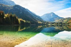 Vorderer Langbathsee lake in Austrian Alps. Beautiful Vorderer Langbathsee lake in Austrian Alps. Autumn landscape Stock Photo