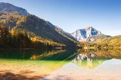 Vorderer Langbathsee lake in Austrian Alps. Beautiful Vorderer Langbathsee lake in Austrian Alps. Autumn landscape Stock Images