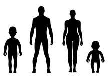Vorderer menschlicher Schattenbildsatz in voller Länge Stockbilder