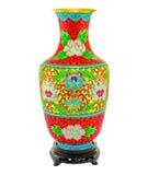 Vorderer Schuss der klassischen chinesischen Farbenvasenisolierung auf Weiß Stockbild