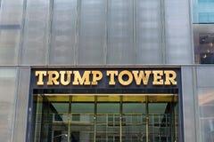 Vorderer Signage auf Trumpf-Turm, New York Lizenzfreie Stockfotos