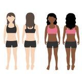 Vorderer und hinterer Ansichtvektor des Frauenkörpers Stockbilder
