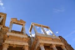 Vorderes Detail des Theaters Römisches Theater, Mérida, Spanien Stockbilder