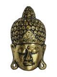 Vorderes Gesicht von Buddha lokalisierte auf weißem Hintergrund Stockfoto
