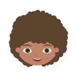 Vorderes Gesichtskind mit dem gelockten Haar Stockfotografie