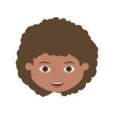 Vorderes Gesichtskind mit dem gelockten Haar Stockfoto