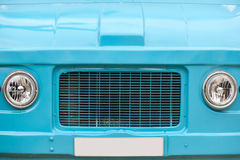 Vorderteil des Hippiepackwagens Retro- Weinlesefahrzeug Blaue Farbe lizenzfreies stockbild