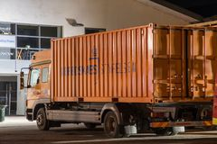 Lorry with a container from Danish Emergency Management Agency Beredskabsstyrelsen royalty free stock images