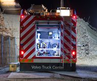The rear end of a Volvo fire truck royalty free stock photo