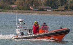 Vordingborg Denmark - May 25. 2017: Danish SAR sea rescue boat s. Ailing near the beach Royalty Free Stock Image