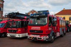 Firetrucks on the city square. Vordingborg Denmark - Oktober 10. 2015: Firetrucks on the city square Royalty Free Stock Images