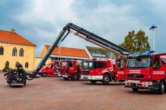 Firetrucks on the square. Vordingborg Denmark - Oktober 14. 2015: Firetrucks on the city square Royalty Free Stock Image