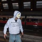 Vorführer, der gegen die Regierung in Mailand, Italien protestiert Lizenzfreie Stockbilder