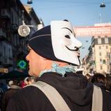 Vorführer, die gegen die Regierung in Mailand, Italien protestieren Stockfotos