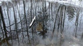 Vorfrühlingsschmelzwasser- und -schneefallen stock video