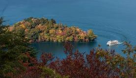 Vorgebirge und Anblick Hacchodejima, die Boot im See Chuzenji sehen Lizenzfreies Stockbild