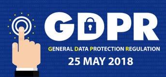 Vorgeschriebene GDPR Konzept-Illustration des allgemeine Daten-Schutz-- 25. Mai 2018 vektor abbildung