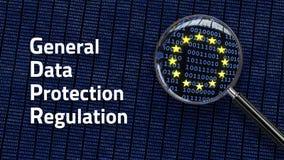 Vorgeschriebene GDPR Wörter des allgemeine Daten-Schutzes - Betrachten von Daten Lizenzfreies Stockbild