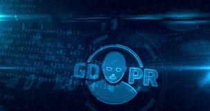Vorgeschriebene Schleife des Schutzes allgemeiner Daten GDPR stock footage