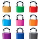 Vorhängeschlösser in den verschiedenen Farben Stockfotografie