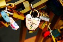 Vorhängeschloß der Liebe stockfoto