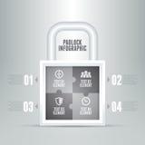 Vorhängeschloß Infographic Stockfotos