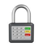 Vorhängeschloß mit ATM-Tastatur Lizenzfreie Stockfotos