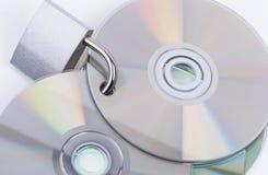 Vorhängeschloß und Disketten Stockbild