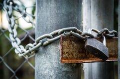 Vorhängeschloß und Kette auf Metallzaunhintergrund Lizenzfreie Stockfotos