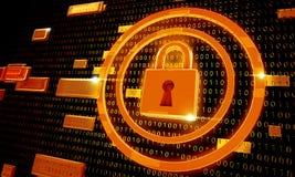 Vorhängeschloss-Sicherheit auf Digital-Hintergrund Stockfotografie