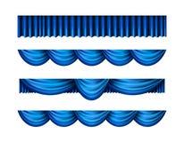 Vorhang-Vektorsatz des Falbels blauer Lizenzfreie Stockfotografie