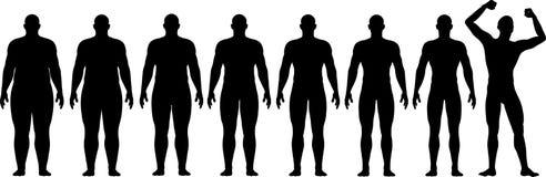 Vorher nach dem Fett, zum des Diät-Gewicht-Verlust-Erfolgs zu befestigen Stockfotos