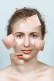 Vorher und nachher von der Haut der Frau Stockfotos