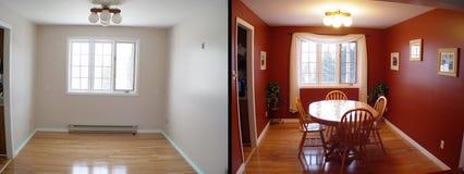 Vorher und nachher von Esszimmer Stockbild