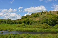 Vorhol flod och kulle i solig dag för sommar Royaltyfria Bilder