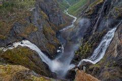 Voring Fossen, самый большой водопад в Норвегии Стоковая Фотография RF