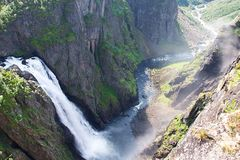 Voringfossen瀑布在挪威 库存照片