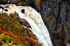 Voringfossen, Norway, the beginning of the fall of the water Stock Photo