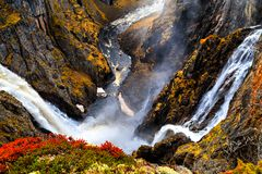 Voringfossen, Norway, the largest waterfall in spring stock photography