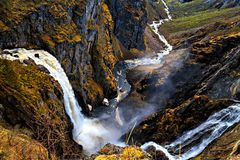 Voringfossen, Norway, the major waterfall in country Royalty Free Stock Photography