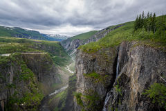 Voringsfoss valley scenic canyon landscape with waterfalls. Royalty Free Stock Images