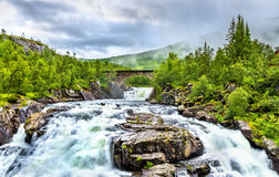 Voringsfossen waterfall on the Bjoreia river in Hordaland - Norway Stock Photos