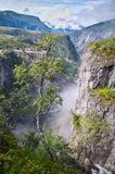 Voringsfossen waterfall canyon valley, Norway Stock Photos